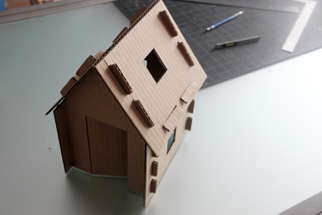 Build model house out of cardboard
