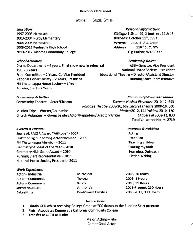 Personal Data Sheet Example John S School Site